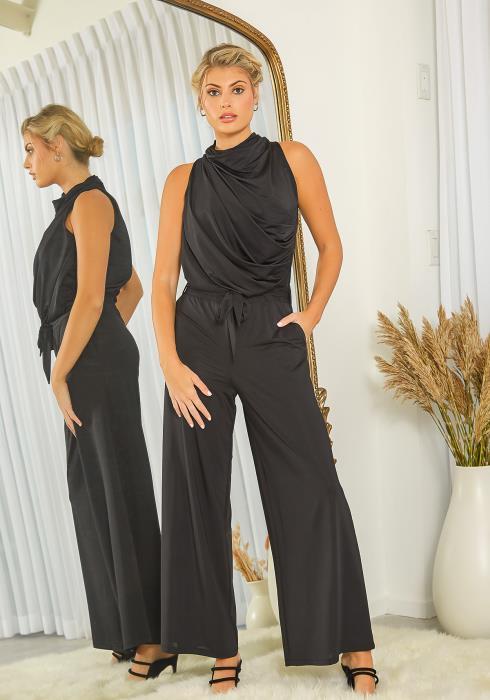 New Designers Space Front Drape Jersey Jumpsuit