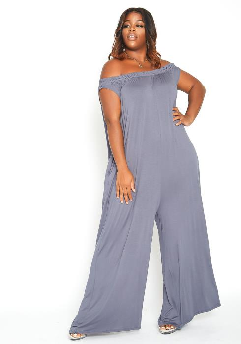 Asoph Plus Size Off Shoulder Onesie Jumpsuit
