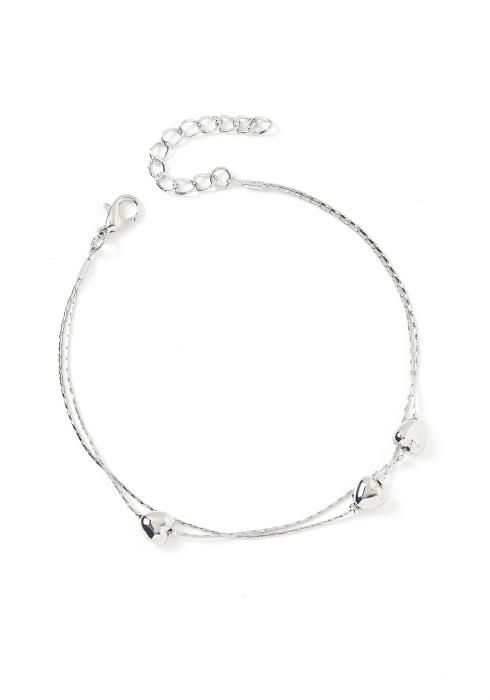 Zoey Double Tiered Heart Charms Silver Anklet