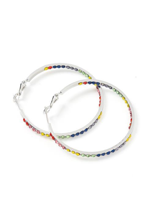 Aurora Rainbow Crystal Medium Hoop Earrings