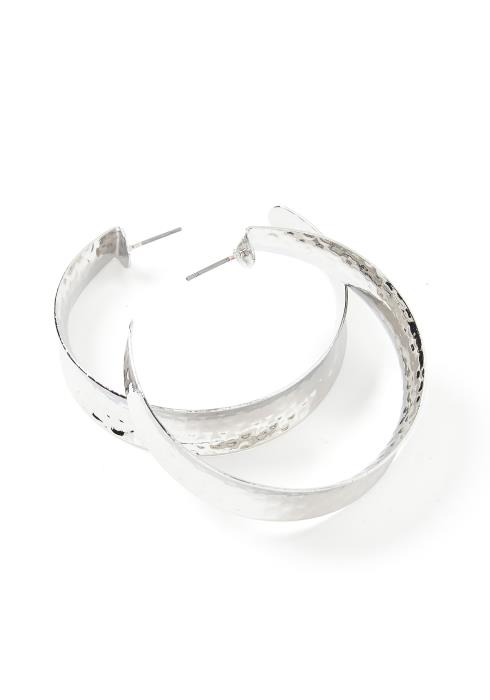 Eliana Simple Silver Medium Hoop Earrings
