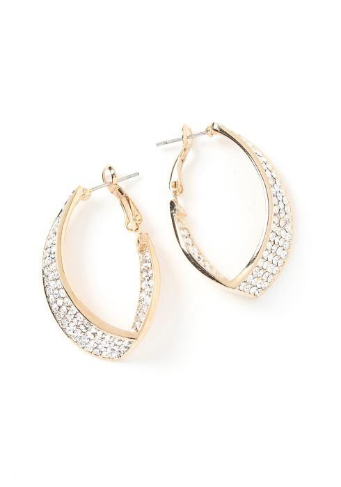 Londyn Silver Crystal Oval Hoop Earrings