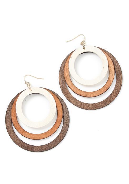 Aruba Wooden Circle Gradient Drop Earrings