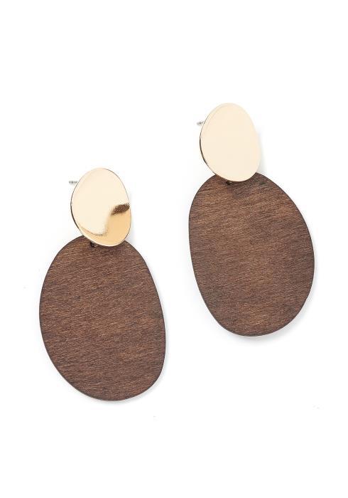 Aldane Wooden Plate Stud Earrings