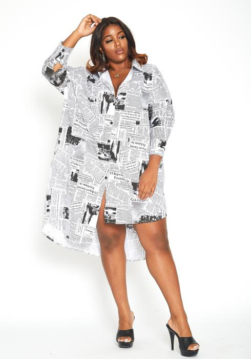 Asoph Plus Size News Flash Collar Shirt Oversized Dress