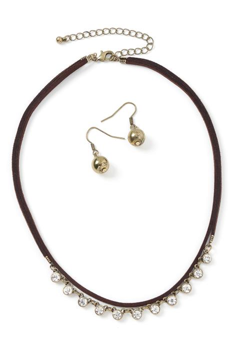 Catherine Suede Choker Necklace & Earrings Set