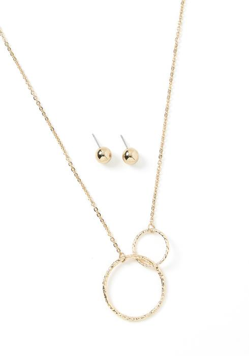 Joanna Intertwined Rings Necklace & Earring Set