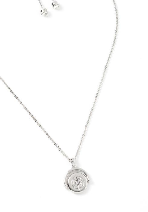 Aspen Compass Charm Necklace & Earrings Set