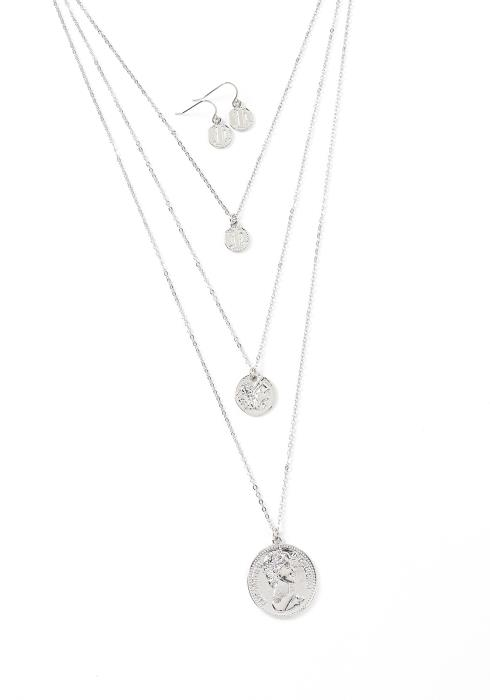 Emerson Coin Charm Necklace & Earring Set
