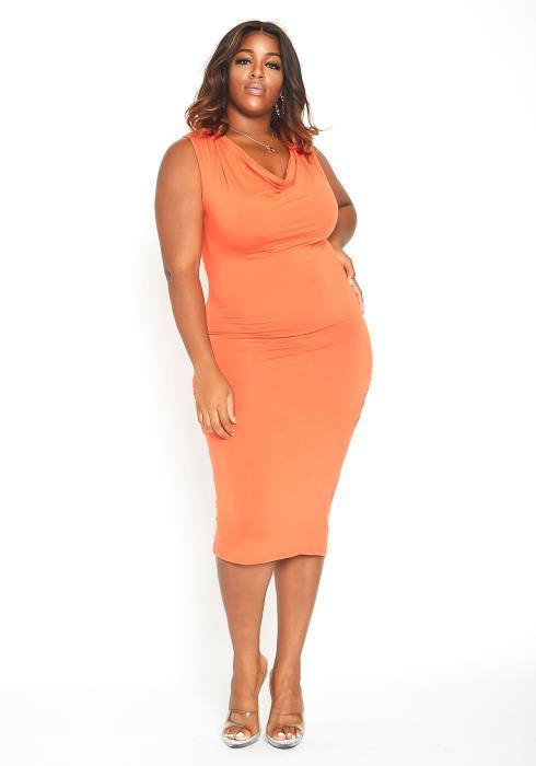 Asoph Plus Size Cowl Neck Sleeveless Midi Bodycon Dress