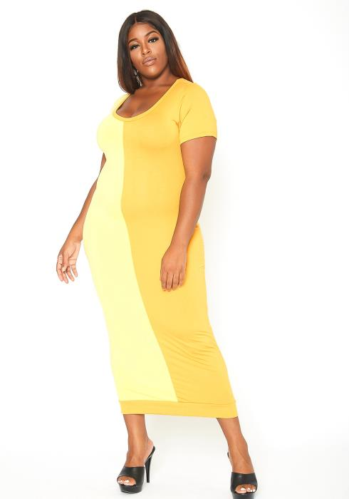 Asoph Plus Size Color Splice Maxi Bodycon Dress