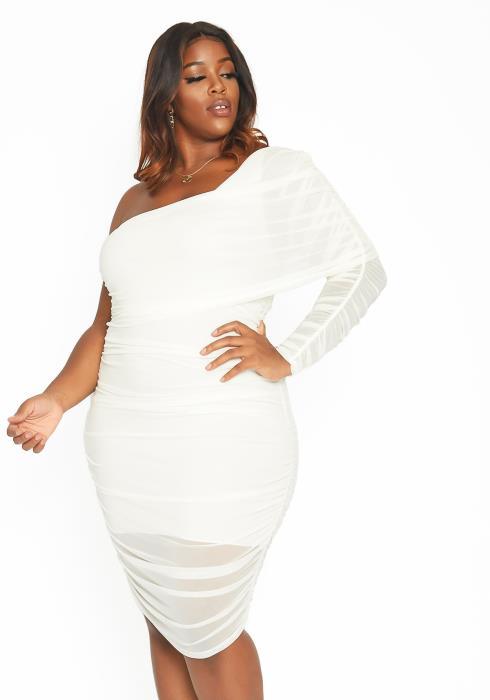 Asoph Plus Size Mesh Overlay One Shoulder Mini Dress