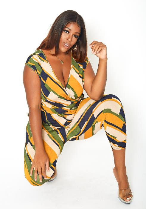 Asoph Plus Size Multi Print Sleeveless Jumpsuit