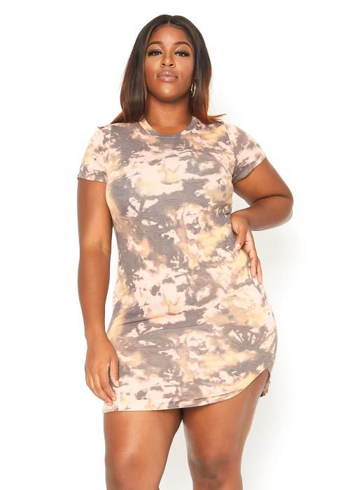 Asoph Plus Size Multi Print Mini T Shirt Dress