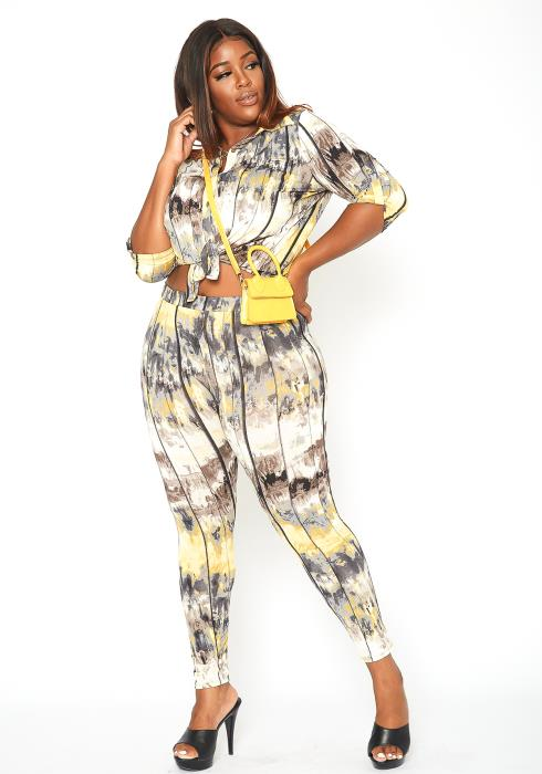 Asoph Plus Size Multi Stripe Two Piece Set