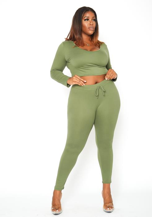 Asoph Plus Size Hooded Crop Top & Leggings Lounge Set