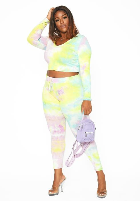 Asoph Plus Size Pastel Tie Dye Lounging Set