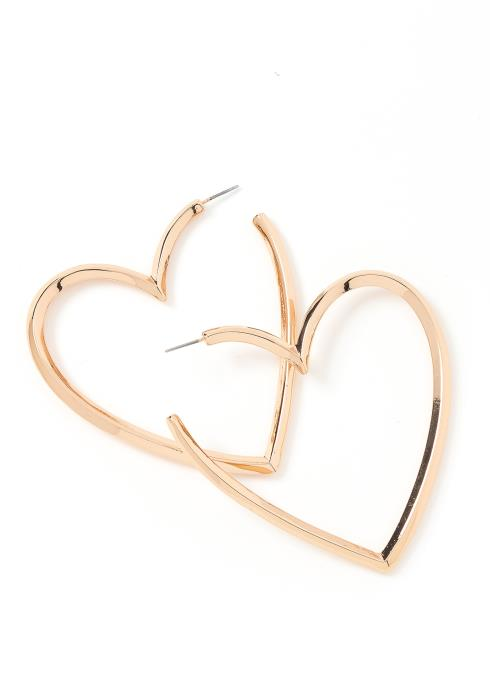 Eden Heart Shape Golden Hoop Earrings