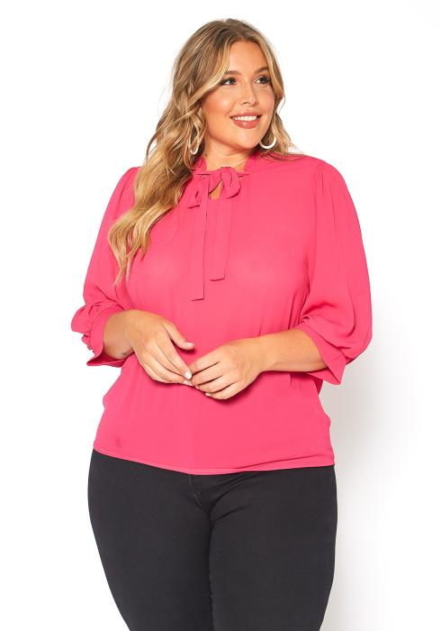 Asoph Plus Size Hot Pink Bow Tie Collar Blouse
