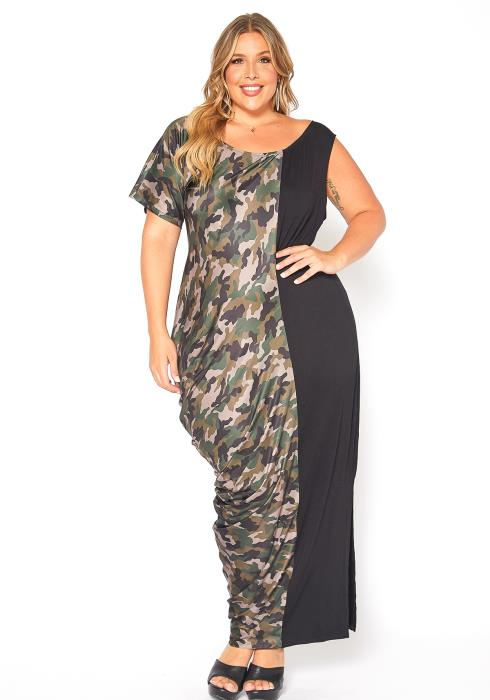 Asoph Plus Size Asymmetrical Camo Splice Maxi Dress