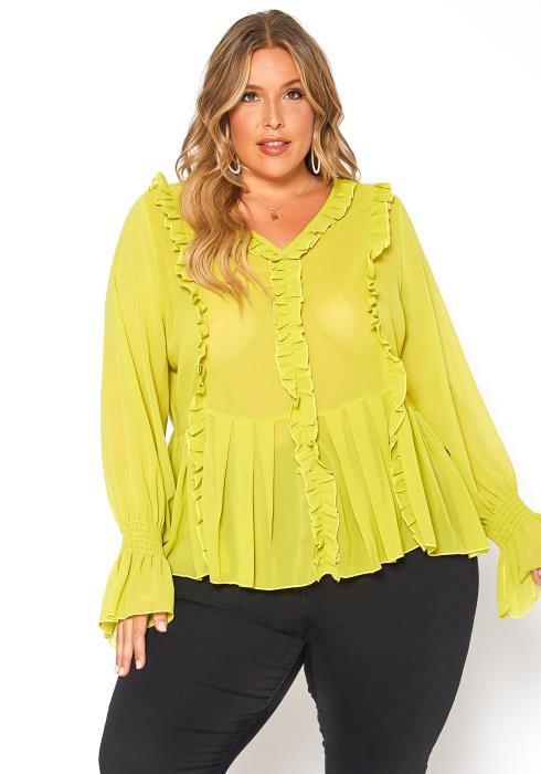 Asoph Plus Size Ruffle Trimmed V Neck Blouse