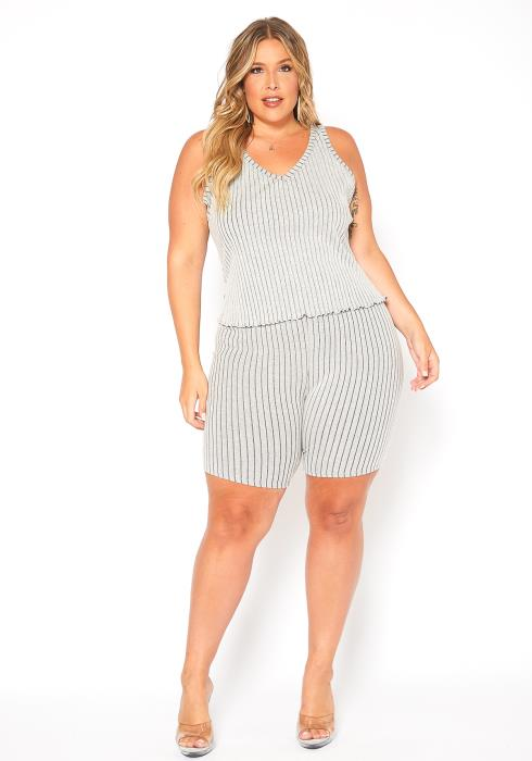 Asoph Plus Size Ribbed Knit Stripe Fitted Biker Shorts