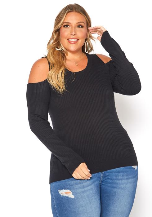 Asoph Plus Size Ribbed Knit Cold Shoulder Sweater Top