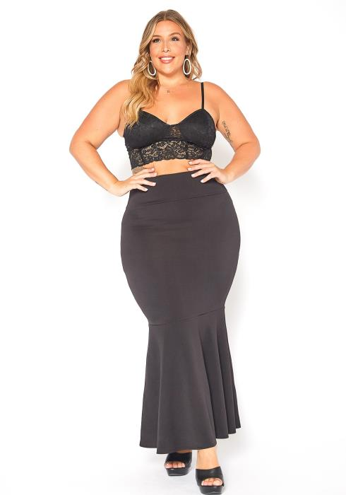 Asoph Plus Size Mermaid End Maxi Skirt