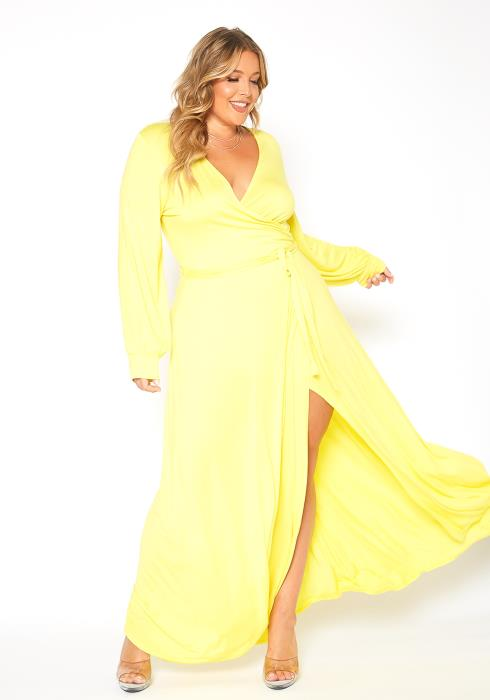 Asoph Plus Size Sunshine Yellow Long Sleeve Maxi Dress