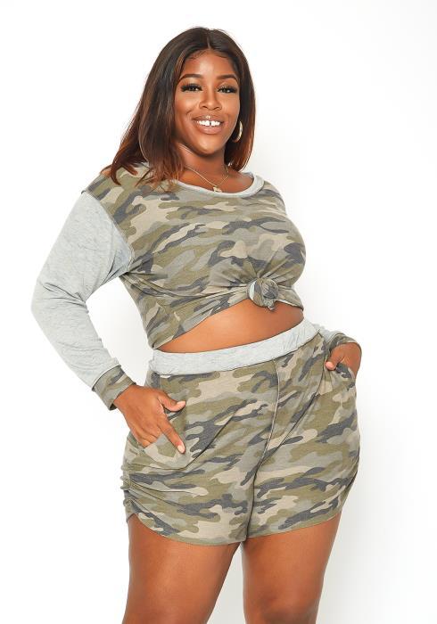 Asoph Plus Size Camo Print Sweatshirt & Dolphin Shorts Set