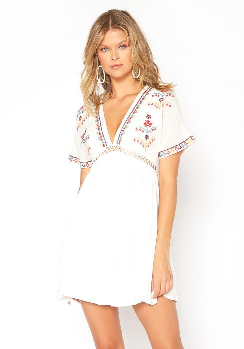 En Creme Authentic Embroidery Hem Fit & Flare Mini Dress