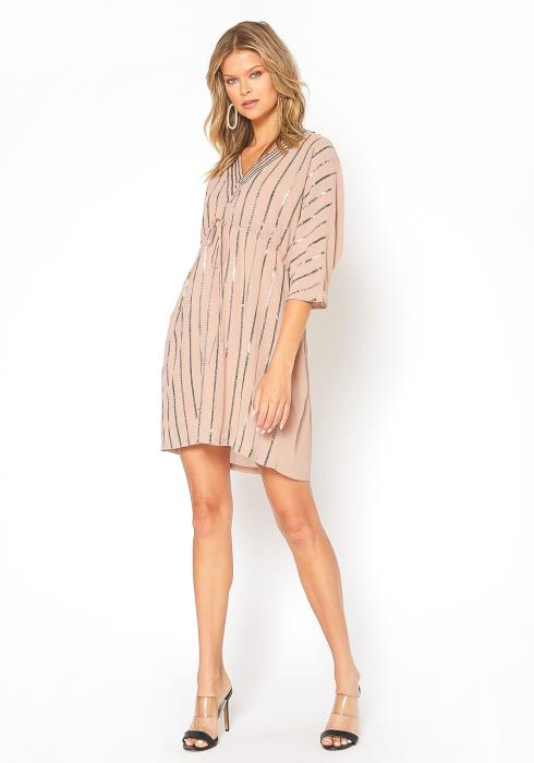 En Creme Sequin Striped Special Occasion Mini Dress