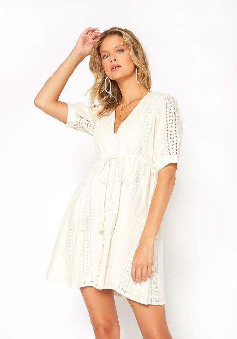 En Creme Eyelet Patterned Fit & Flare Mini Dress