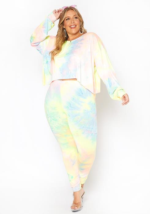 Asoph Plus Size Soft Tie Dye Sweater & Leggings Set