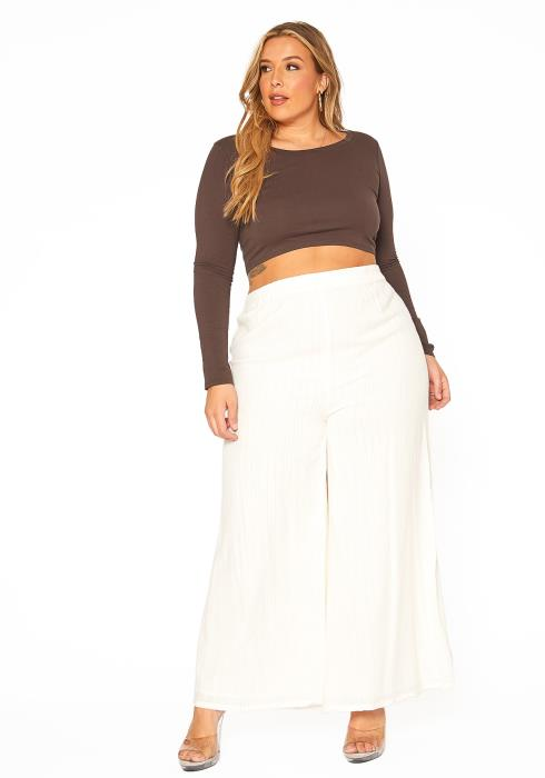 ENCREME Plus Size Shimmer Hinted Wide Leg Pants