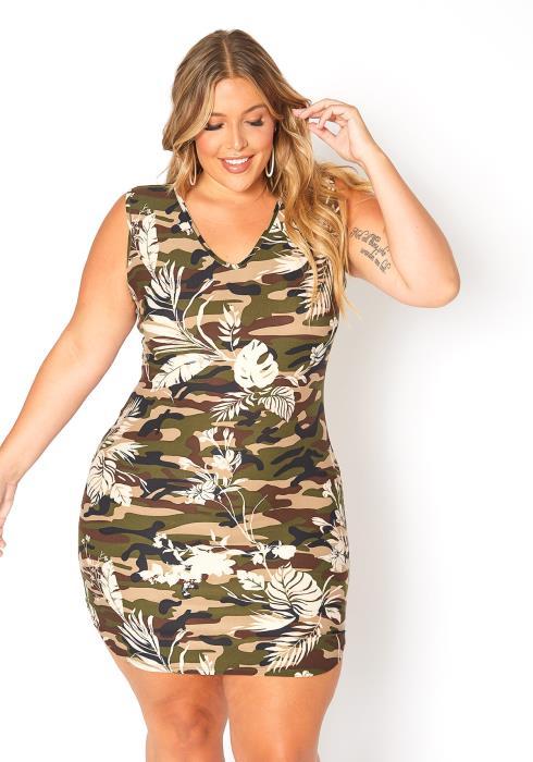 Asoph Plus Size Camo Leaf Print Sleeveless Mini Dress
