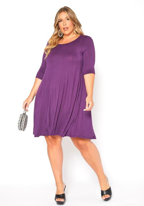 Asoph Plus Size Purple Fit & Flare Mini Dress