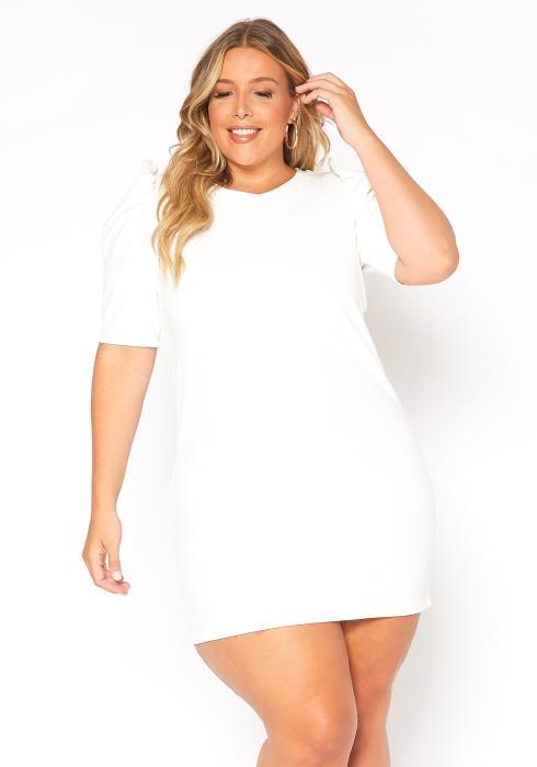 Asoph Plus Size Puff Shoulder Mini Party Dress