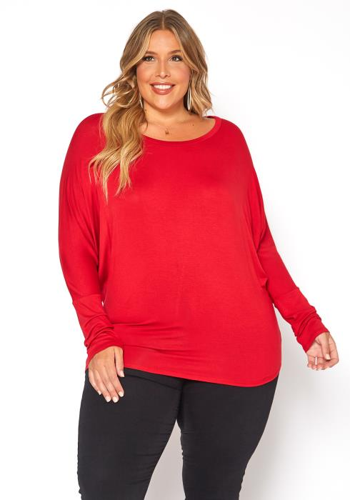 Asoph Plus Size Casual Dolman Long Sleeve Top