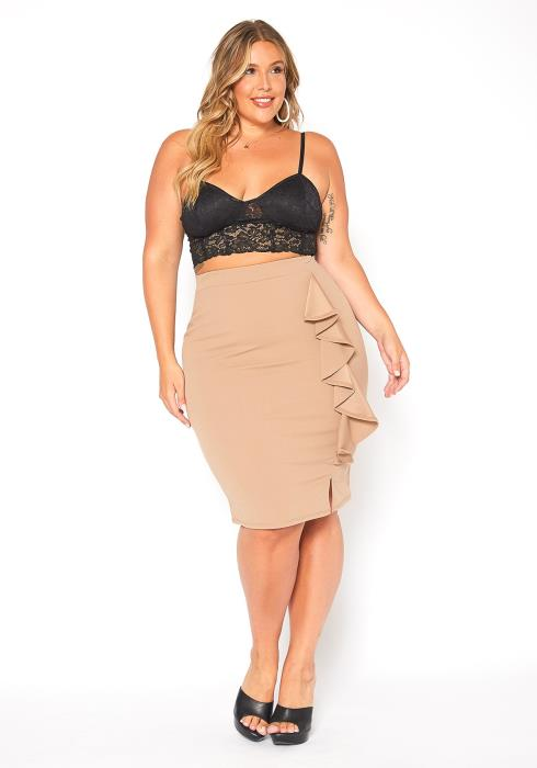 Asoph Plus Size Taupe Ruffle Trim Pencil Skirt