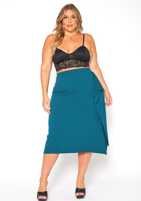 Asoph Plus Size Formal Drape Ascent Midi Skirt