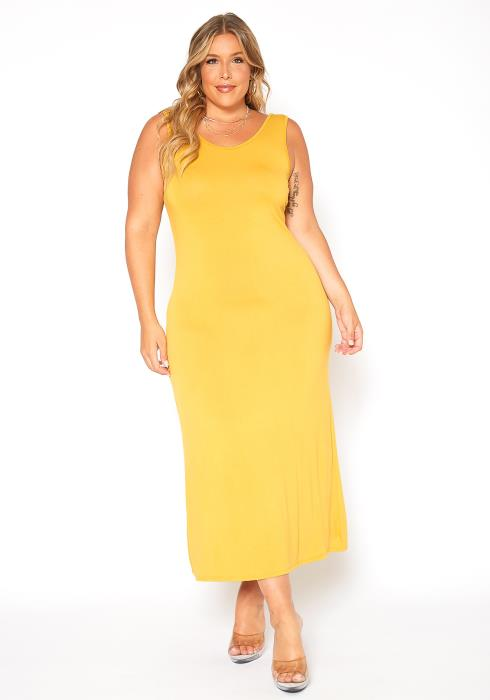 Asoph Plus Size Solid Color Tank Maxi Dress