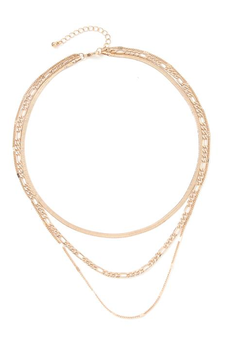 Scarlett Triple Tier Linked Chains Necklace