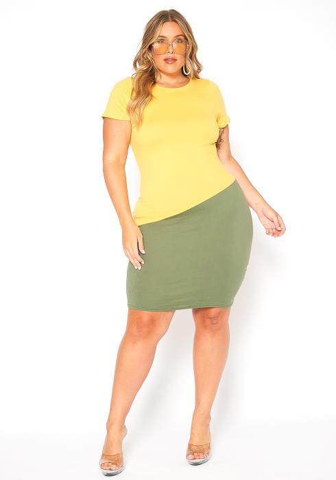 Asoph Plus Size Color Block Bodycon Mini Dress
