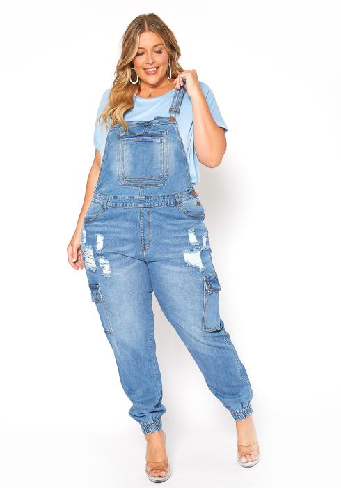 Asoph Plus Size Blue Cargo Denim Overall