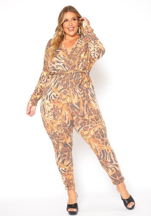 Asoph Plus Size Queen Leopard Print Fitted Jumpsuit