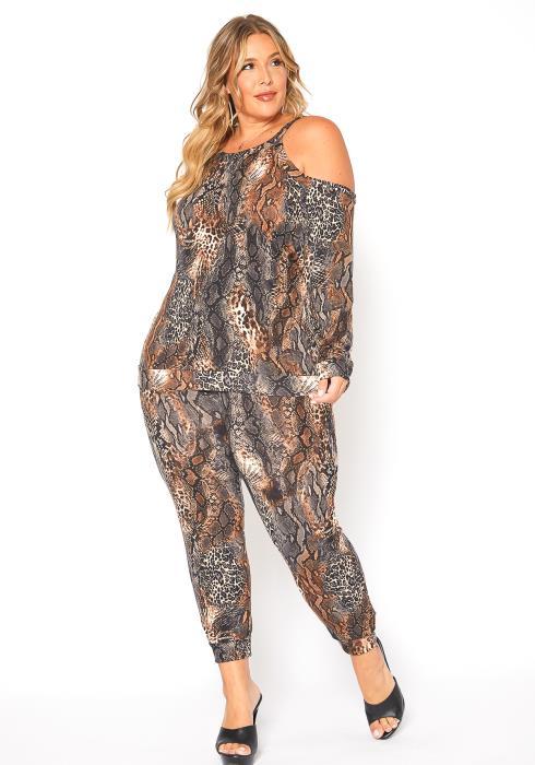 Asoph Plus Size Savage Love Cold Shoulder Top & Pants Set