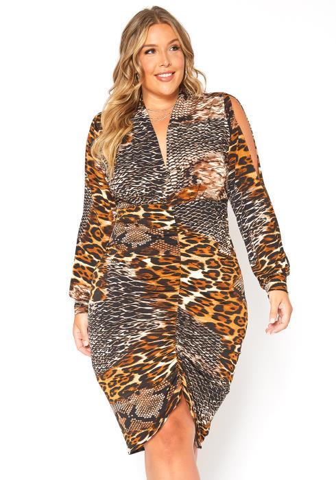 Asoph Plus Size Animal Instincts Long Sleeve Bodycon Dress