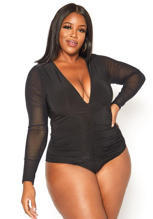 Asoph Plus Size Deep V Neck Long Sleeve Bodysuit
