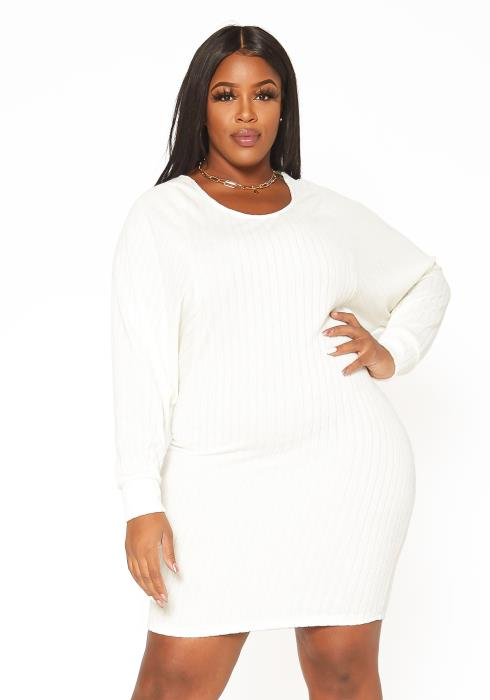 Asoph Plus Size Soft Knit Long Sleeve Mini Dress